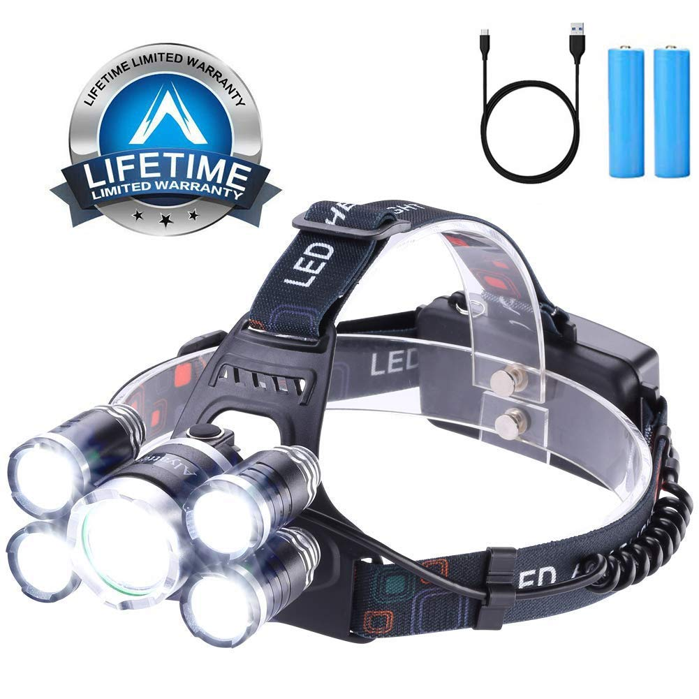 Headlamp 12000 Lumen Ultra Bright CREE LED Work Headlight micro-USB Rechargeable, 4 Modes Waterproof Head Lamp Best Headlamps for Camping Hiking Hunting Outdoors