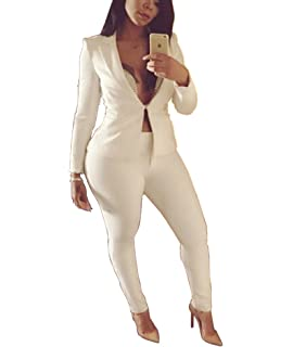 82df896998 2 Piece Outfits for Women Long Sleeve Solid Color Blazer with Pants Casual  Elegant Business Suit