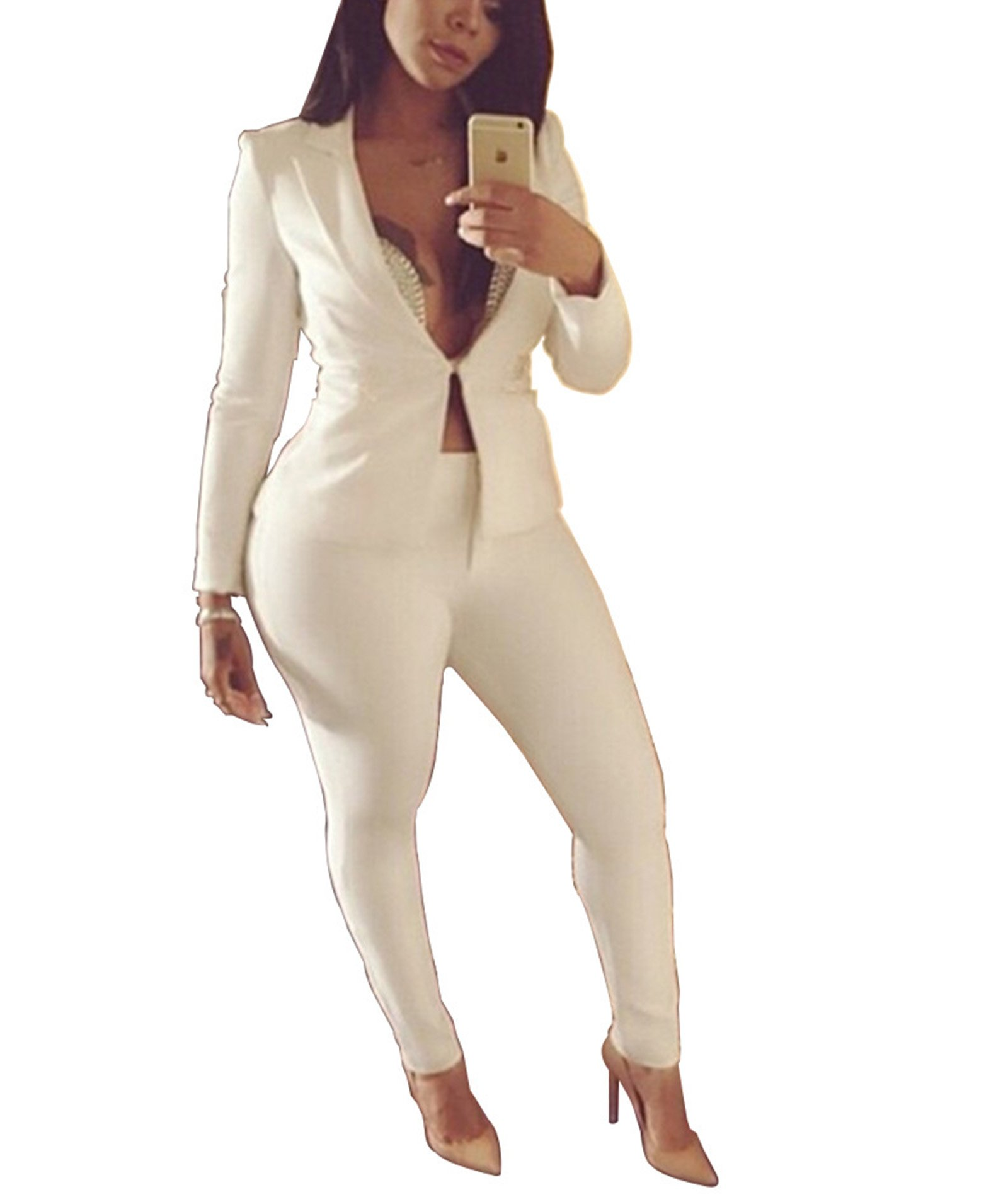 IyMoo Womens Solid Color Blazers 2 Piece Outfits Long Sleeve Suits with Pants Tracksuit White Small