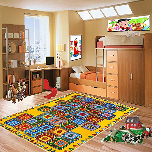 Kids Rugs Learning Recreational Playtime Classroom Rug (3' x 5', ABC Blocks)