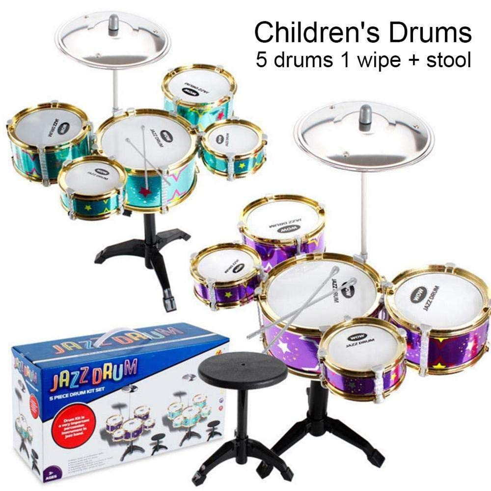 FOONEE Jazz Drum Instrument de Musique pour Enfant Simulation Jazz Drum Instrument de Musique Jouet Fruits Toy Drum Percussion Batterie pour Enfant Batterie Vert