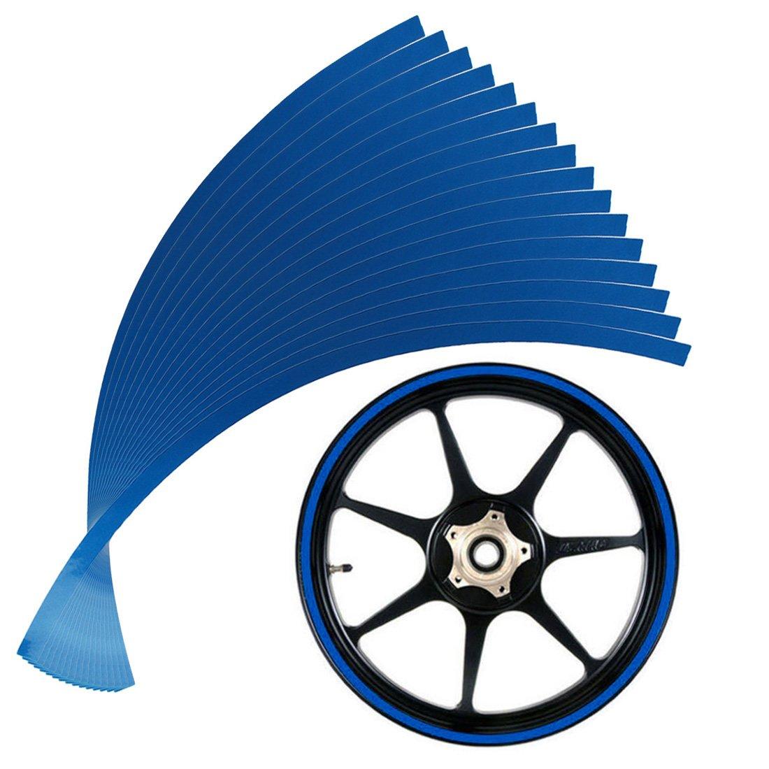 PP-NEST 10mm ホイールリムテープ ストライプ 反射デカール オートバイホイール16インチまたは車輪QCFGT-01  ブルー B074QMG6SD