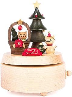 XXT-Carillon Scatola Musicale Scatola Musicale Santa Scatola Musicale in Legno Fatta a Mano Scatola Musicale Rotante Regali di Natale