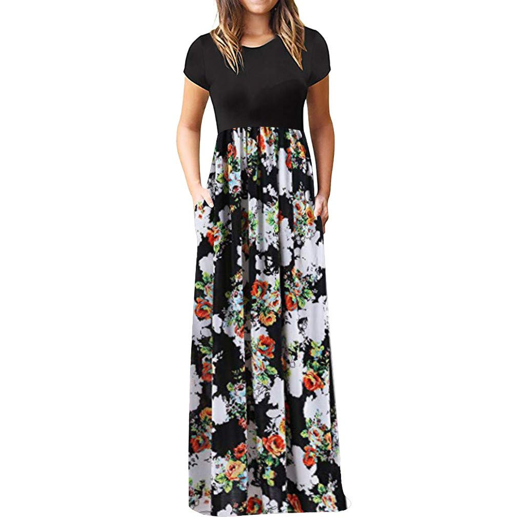 ❤Women's Short Sleeve Maxi Dresses, Clearance Sale! Ladies Loose Casual Floral Printed Crewneck Boho Dress with Pockets
