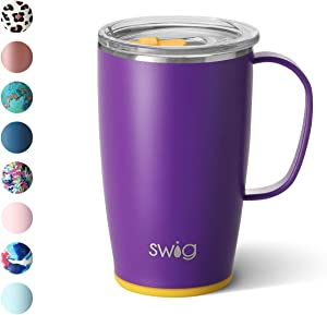 Swig Life 18oz Triple Insulated Travel Mug with Handle and Lid, Dishwasher Safe, Double Wall, and Vacuum Sealed Stainless Steel Coffee Mug in Matte Purple/Yellow Print (Multiple Patterns Available)
