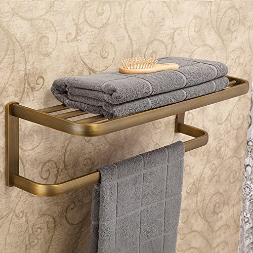 Leyden Retro Bathroom Accessories Solid Brass Antique Brass Finished Bathroom Shelves Space Saver Shelf Wall maounted by Leyden