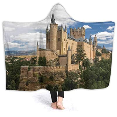 prunushome Throw Blanket Castle Segovia Spain Pattern Kids Blankets Fleece Soft Warm Fuzzy Blankets for Teens Girls, 80W by 60H Inches: Home & Kitchen