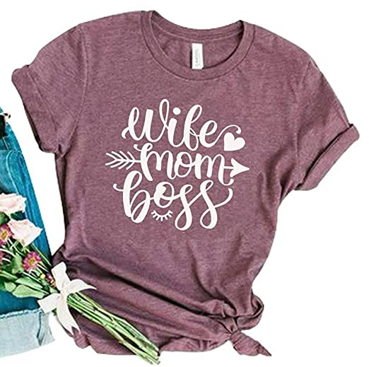 Wife Mom Boss T Shirts for Women Lovely Heart Graphic Letter Print Tees Tops  Purple 84a893c4c1f1