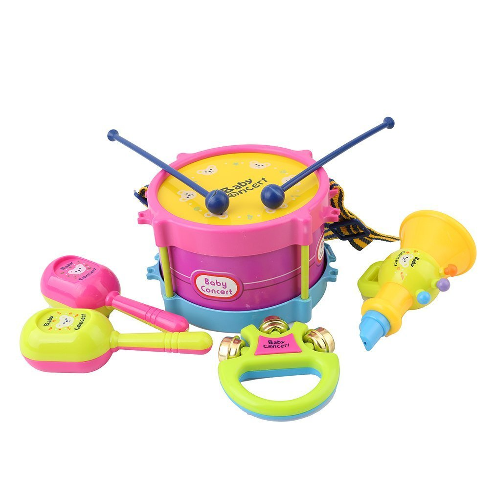 HENGSONG Baby kids Education Toy Roll Drum Musical Instruments Band Kit Children Toy, Set of 5 mei_mei9