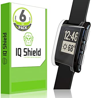 IQShield Screen Protector Compatible with Pebble E-Paper Smartwatch (6-Pack) LiquidSkin Anti-Bubble Clear Film