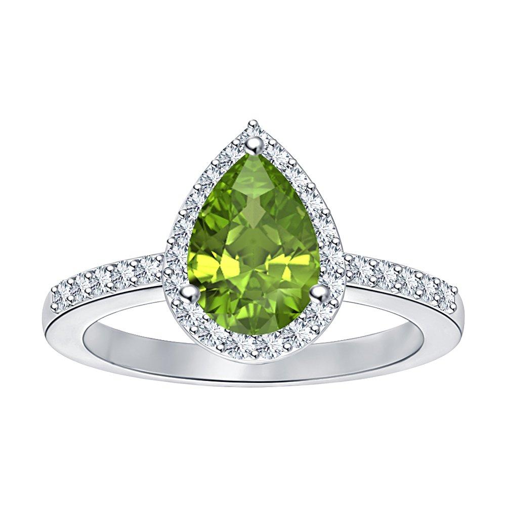 RUDRAFASHION 925 Sterling Silver 1.75ctw Pear Shaped Peridot /& White CZ Diamond Engagement Wedding Ring For Women
