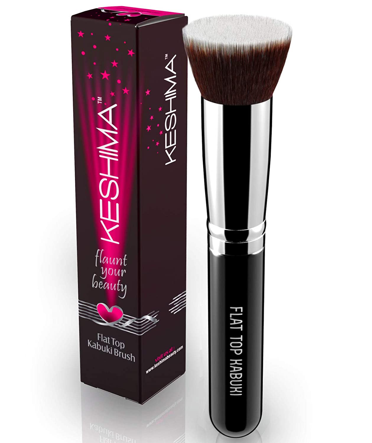 Flat Top Kabuki Foundation Brush By Keshima - Premium Makeup Brush for Liquid, Cream, and Powder - Buffing, Blending, and Face Brush