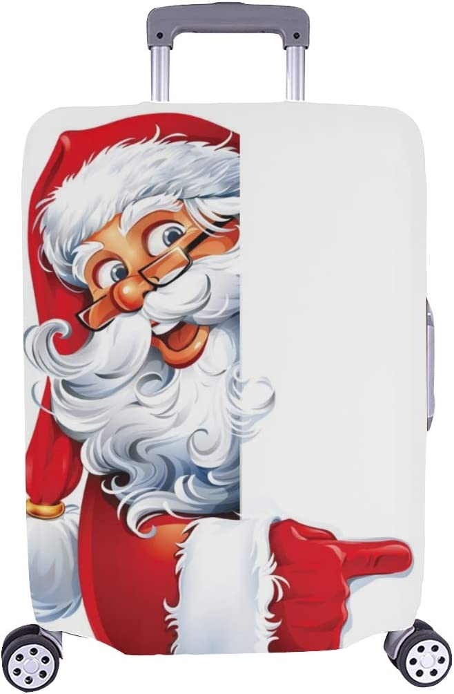 Cartoon Santa Claus Character Spandex Trolley Case Travel Luggage Protector Suitcase Cover 28.5 X 20.5 Inch