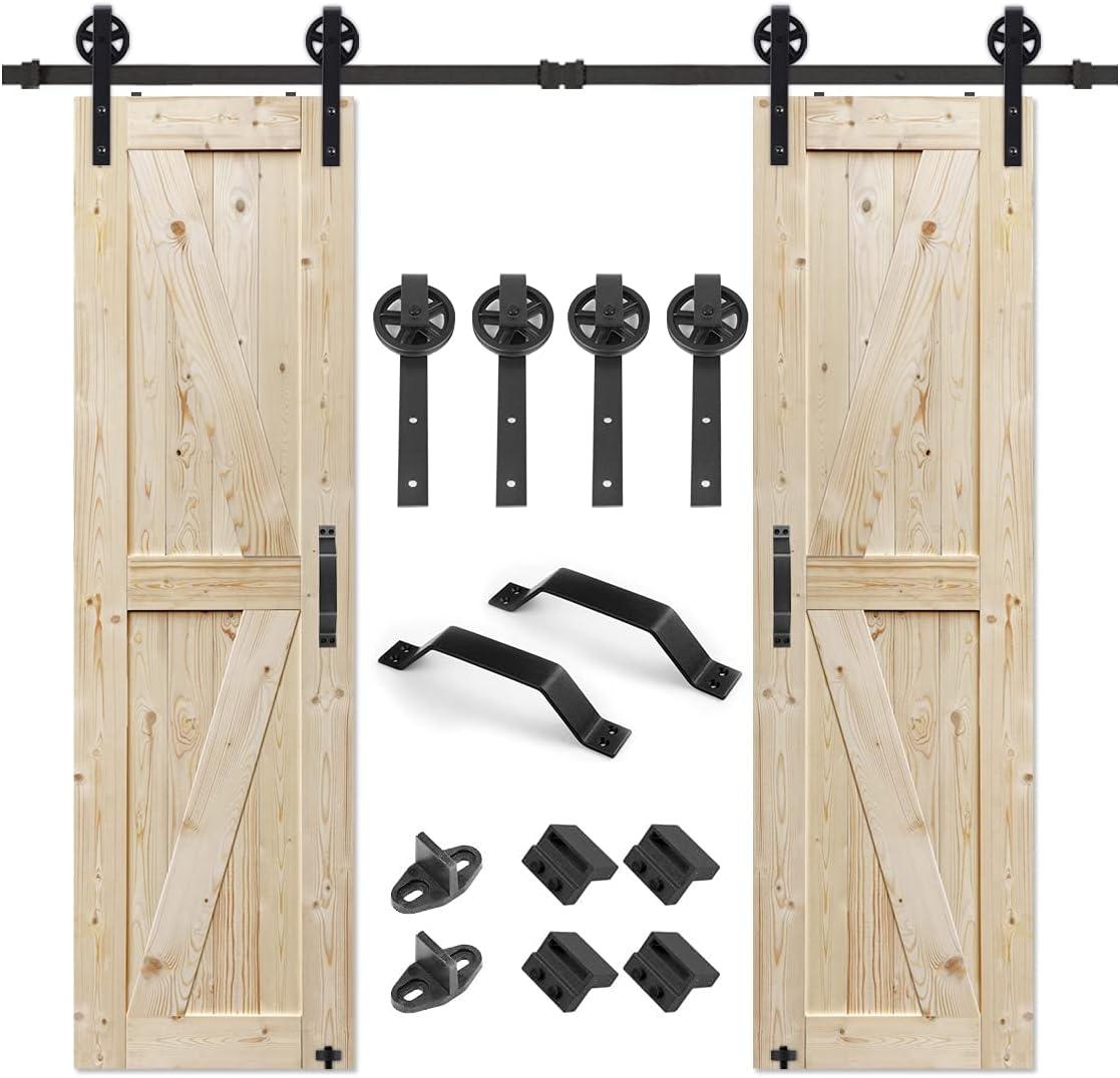 S&Z TOPHAND 24 in. x 84 in. Double Unfinished British Brace Knotty Barn Door with 8FT Sliding Door Hardware Kit/Solid Wood/Sliding Door/Double Surfaces (24x2, Door+ Big Wheel)