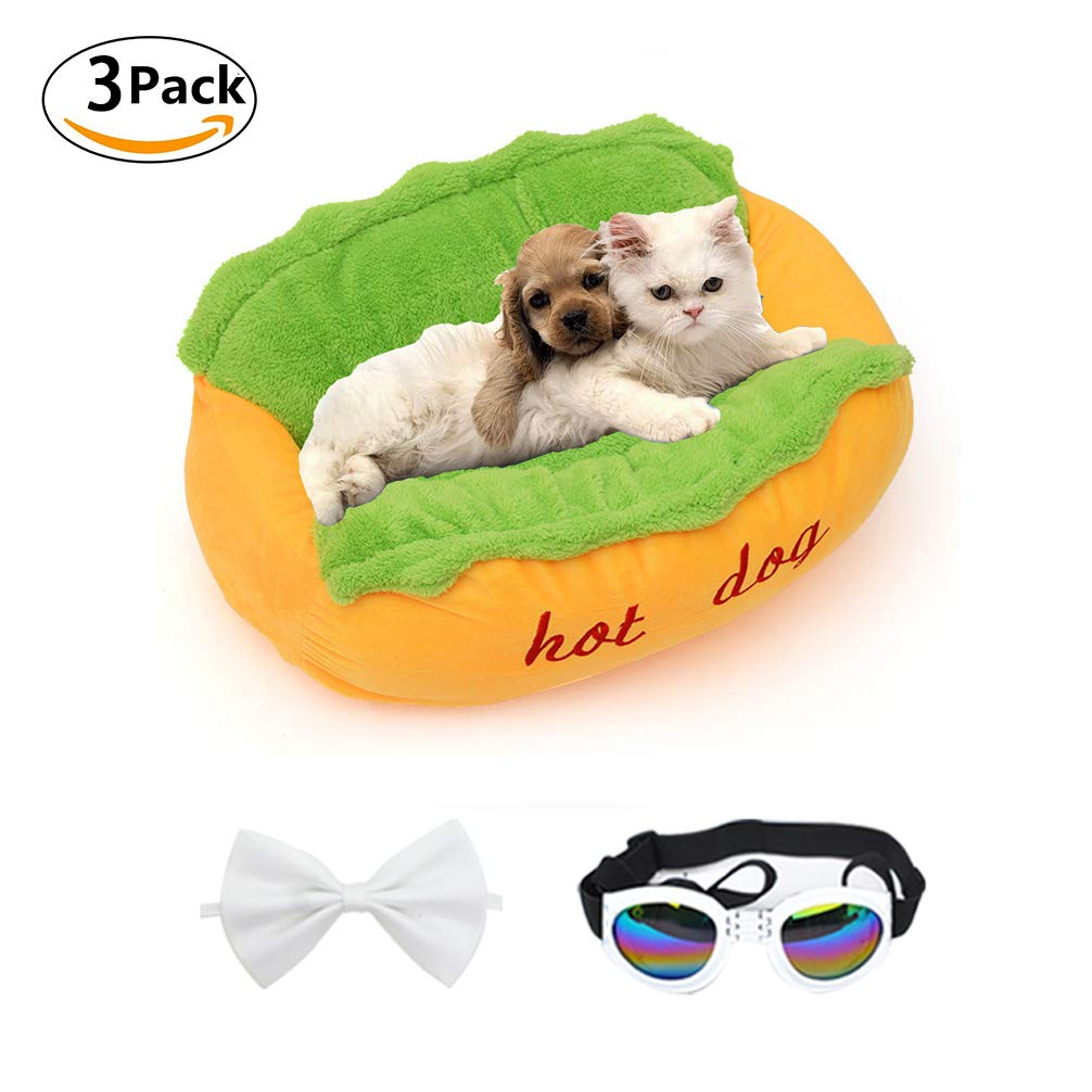 Amazon.com : Dog Bed Hot Dog Design Removable and Washable Dog Sofa Dog Mat for Small Animals with Bow Tie and Sunglasses L : Pet Supplies
