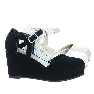 cc316cff2 Amazon.com | Girl/Children's Platform Wedge Closed Toe Pump w Open Side  D'Orsay | Sandals