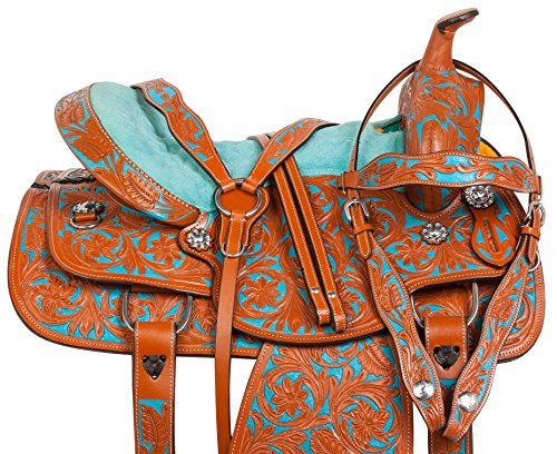 HER NATURAL TURQUOISE PAINTED WESTERN BARREL RACING HORSE SADDLE TACK (16) ()