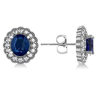 a48ae12c7 Image Unavailable. Image not available for. Color: Allurez Oval Cut Blue  Sapphire and Diamond Floral Halo Earrings 14k White Gold ...