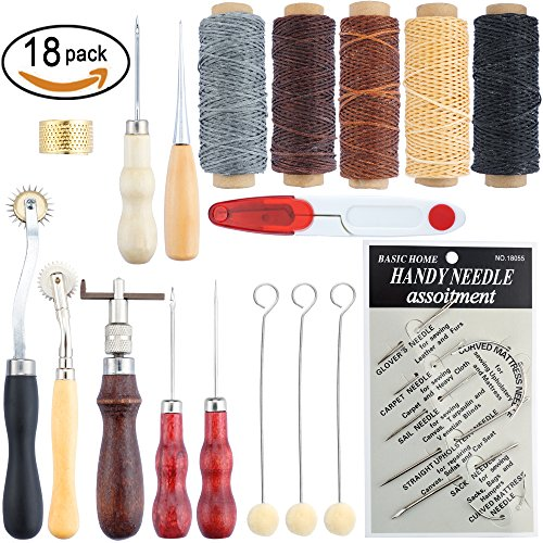 SOTOGO 18 Pcs Leather Craft Tool Hand Stitching Sewing Tool Thread Awl Waxed Thimble Kit