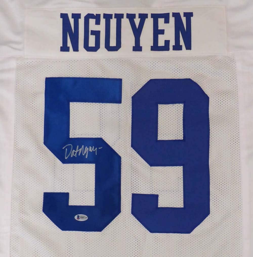Dallas Cowboys Dat Nguyen Autographed White Jersey Beckett BAS Stock #149049