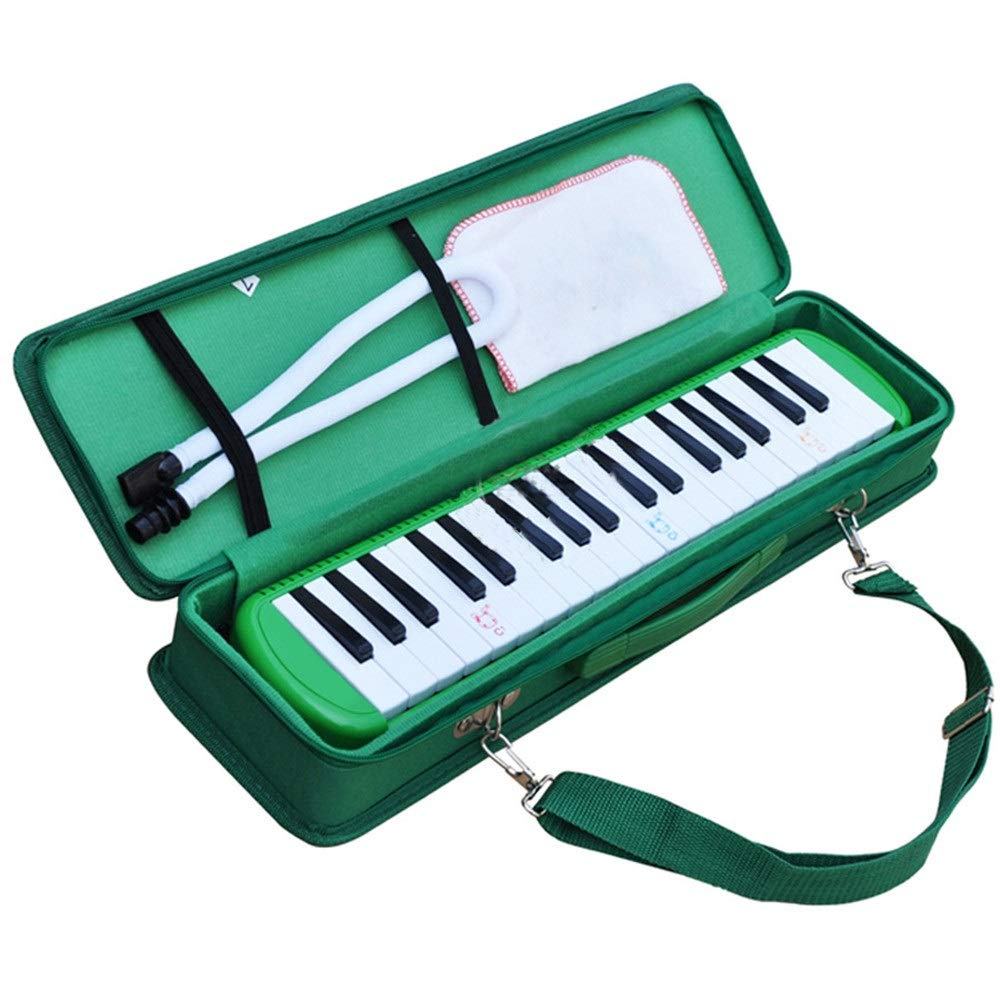 Melodica Musical Instrument Educational Portable 37 Keys Melodica Instrument Piano Style Full Sets With Carrying Bag Straps Double 2 Mouthpieces Tube Musical Gift Toys For Kids Beginners Students for