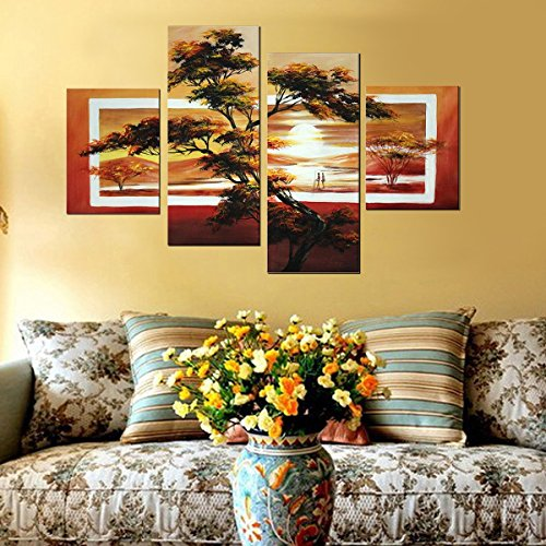 Caroyla African Landscape Oil Paintings 4 Panels Hand Painted Canvas No Framed Painting, Yellow