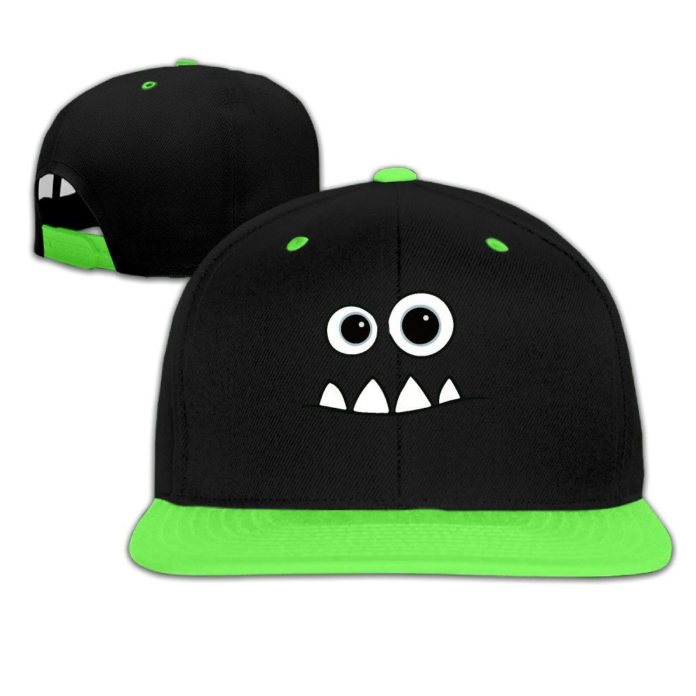 Amazon.com  Child Monster Face Fendi Mike Contrast Color Flat Bill Hat  KellyGreen  Clothing 6c3f533034b