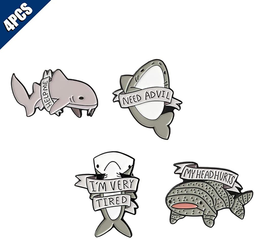 KOOBOOK 4Pcs Creative Lovely Ocean Animal Brooch Pins Whale Shark Enamel Lapel Pin Lettering Pins Schoolbag Micro Cap Top Lapel Badge