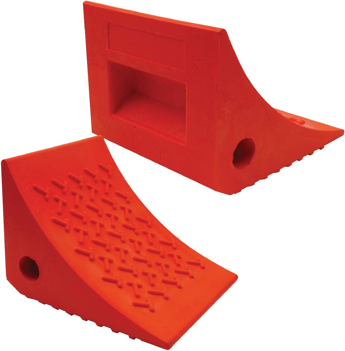 SECURITYMAN 2 Pack Wheel Chocks - Constructed of Heavy Duty Solid Rubber for 20,000 lbs of RV, Trailer, Truck, Camper - Perfect on All Surfaces and in All Weather - Orange: Automotive