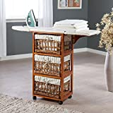 Wood Wicker Ironing Board Center with Baskets