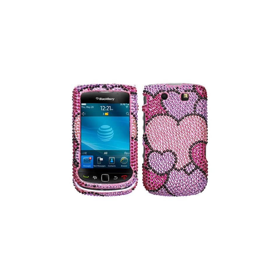 BlackBerry Torch 9800 Hot Pink Diamond Hearts Crystal Snap On Hard Cover Case + Bonus 5.5 Baby Blue Phone Cleaning Cloth