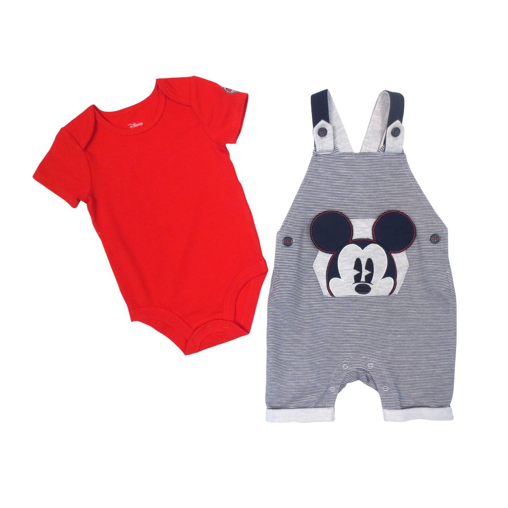 Disney Baby Boy's Mickey Shortall/Creeper Shorts Set, Red, 12M DS18IB359