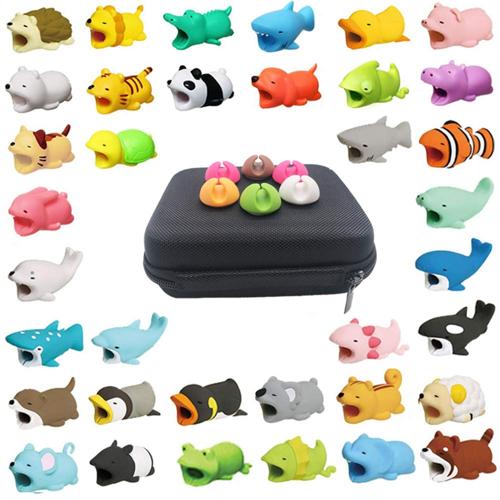 Kalolary 42 Pcs Cable Animals Protector, Cable Cord Charger Protector Phone Data Line Desktop Cable Clamp, Protects Saver Cell Phone Cable Accessories (with 1 Storage Box)
