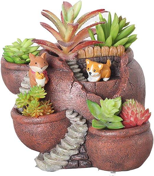 Xueliee - Maceta de plantas creativas decorada con mini jardín de hadas y casa dulce para decoración de vacaciones y regalo, A2: Amazon.es: Jardín
