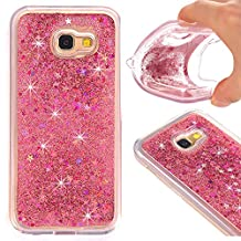 Galaxy A5 (2017) Case, Nicelin Creative Design Built-in Flowing Liquid and Floating Luxury Bling Glitter TPU Soft Case for Samsung Galaxy A5 (2017) / SM-A520 Series (Rose Pink)