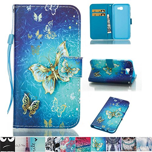 Galaxy J5 Prime Case, Galaxy On5 2016 Case, Firefish PU Leather Wallet [Card Slots] [Kickstand] Strap Magnetic Clip Impact Resistant Case for Samsung Galaxy J5 Prime/Galaxy On5 2016 (Womens Drop Stitch)