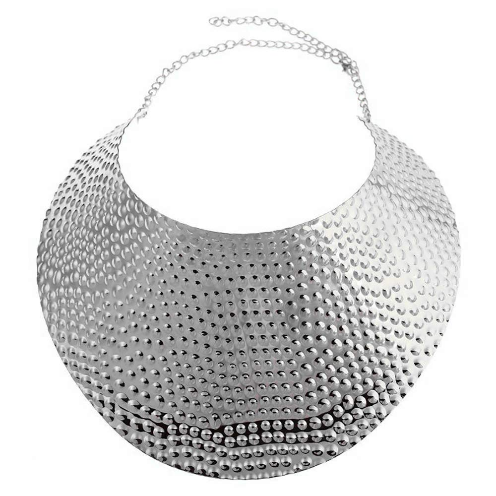 Reliablee Chunky Bib Statement Torque Choker Necklaces. Jewelry Set for Women and Girls. (Silver)