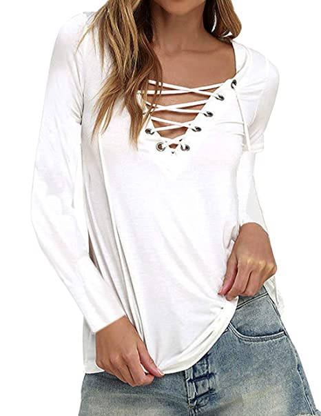 12a9e888908e9a Clearance Womens Casual Choker Deep V Neck Long Sleeve Top Ladies Lace Up  Loose Fit Criss Cross Front Blouse Shirt Plus Size Plain Basic T-Shirt Tops  ...