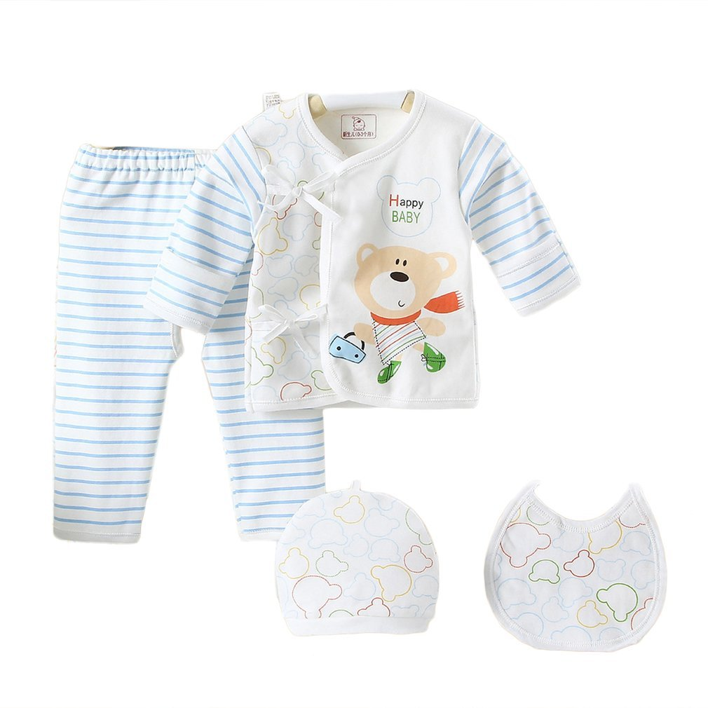 Gugutogo 5 piezas de 0-3 meses de algodón puro traje infantil Tops + Bottoms + Cap + Bib Boys Girls Set (Color: azul)