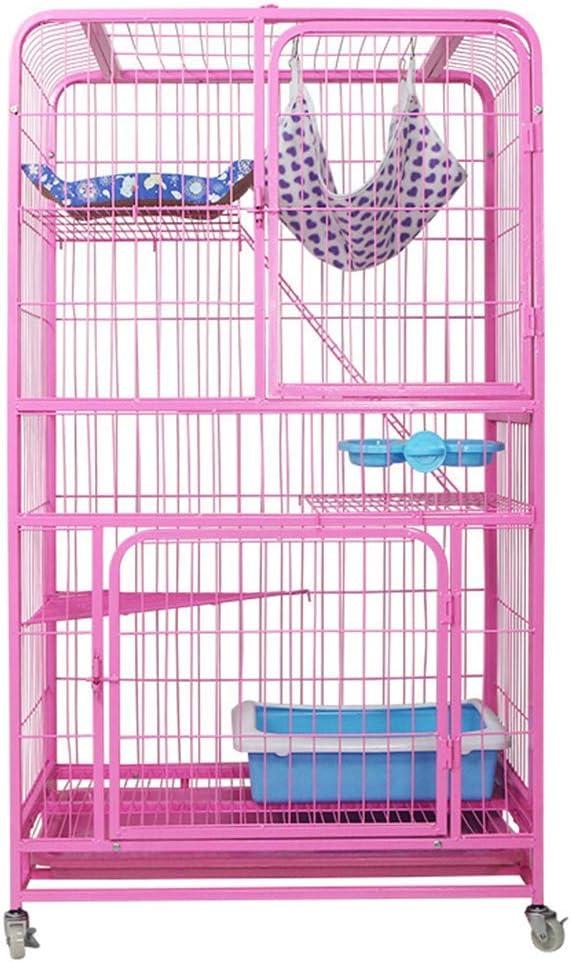 S-Lifeeling Jaula para gatos Creat Kennel de 3 niveles para gatos y gatos, jaula de metal plegable (rosa)