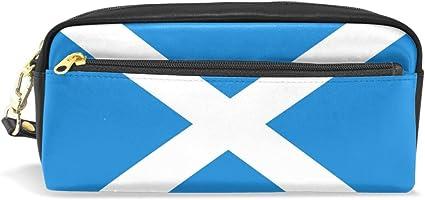 Eslifey Bandera de Escocia bolsa portátil de piel sintética para lapiceros de escuela, estuches de lápices, bolsa de cosméticos a prueba de agua, estuche de maquillaje: Amazon.es: Oficina y papelería