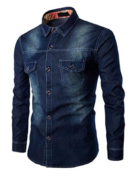 1cee71d21d5 willwinMen WillingStart Men Washed Long-Sleeve Fitted Plus-Size Turn Down  Collar Denim Shirt at Amazon Men s Clothing store
