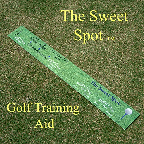 The Sweet Spot - Golf Swing Practice Aid for Improving Accuracy and Distance. Provides Optimal Ball Placement Within Stance. Great for Practice Range and Golf Simulator Use. Training - Club Spot Golf Sweet