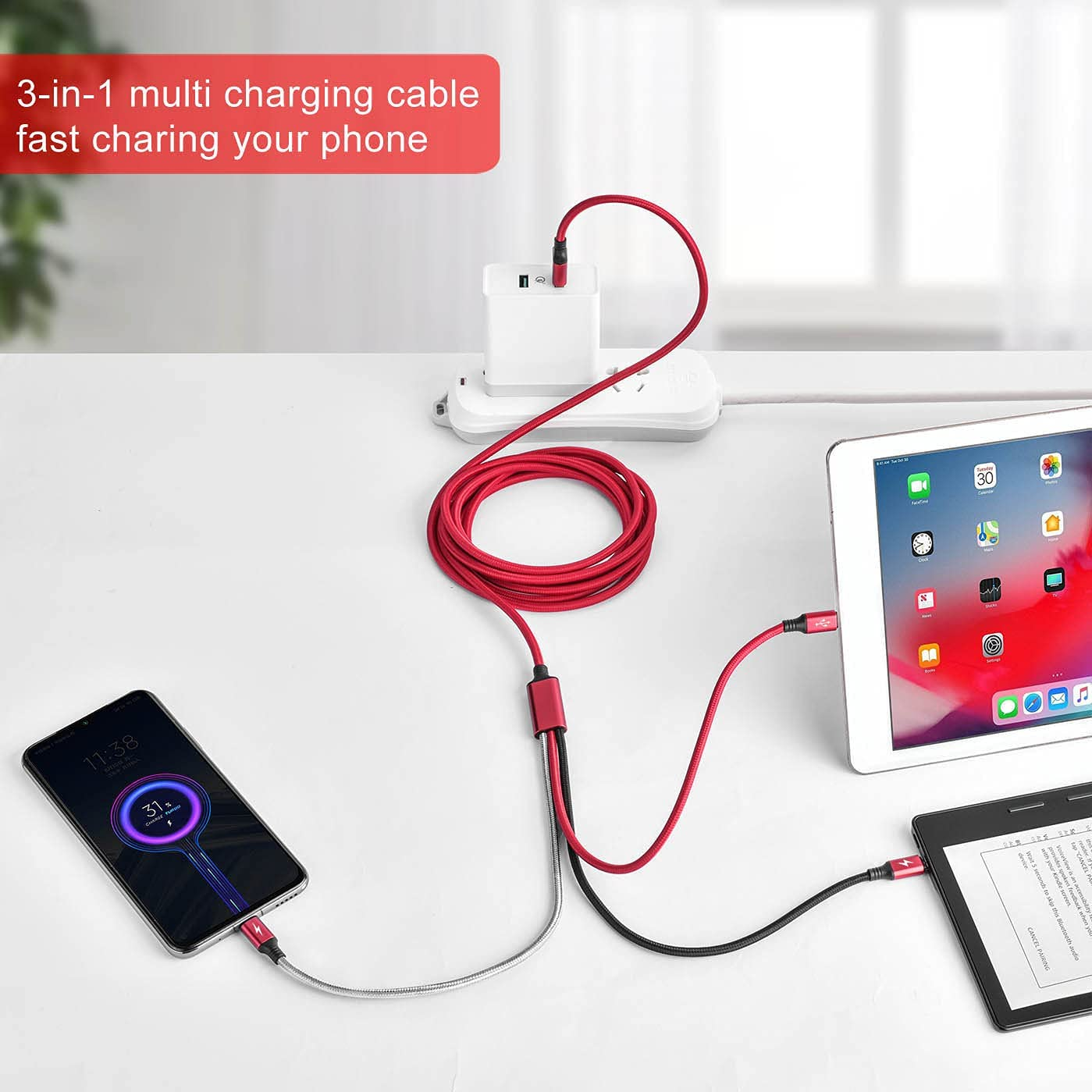 Fast Charge Multi Charging Cable Beautiful of Green Tropical Leaves Multi 3 in 1 Retractable Multi USB Cable Fast Charging with Micro USB//Type C Compatible with Cell Phones Tablets and More