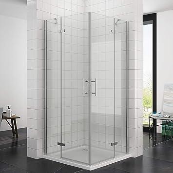 Berühmt Duschkabine Eckeinstieg 80 x 80 x 195 cm mit Duschtasse (6 mm ESG FG58