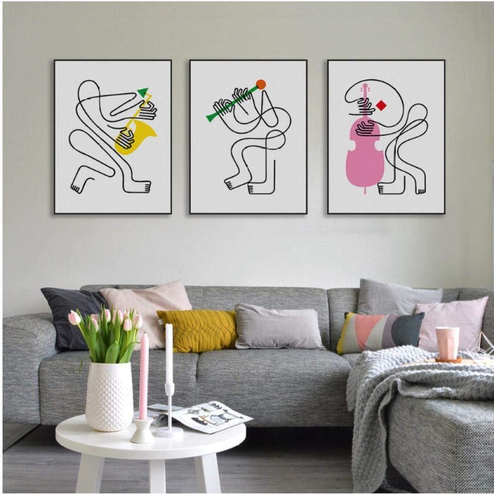 NR Bandas abstractas Minimalista Impresión de Lienzo Cartel Música Picasso Imágenes Sala de Estar Decoración de la Pared Pintura Regalo (40x60x3pcs cm sin Marco)
