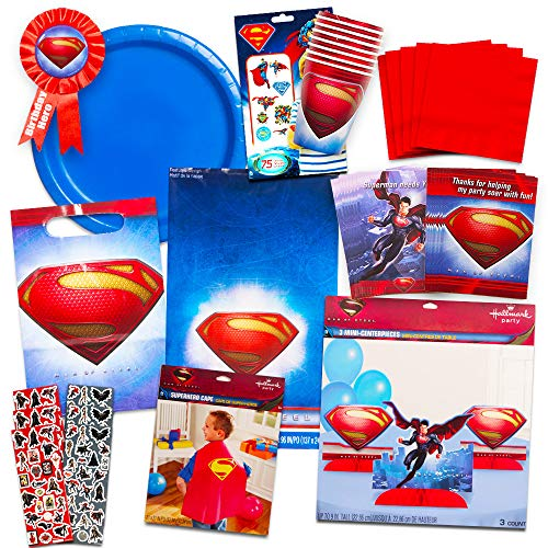 Superman Party Supplies Ultimate Set -- Superman Birthday Party Decorations, Cape, Table Cover, Invitations and More
