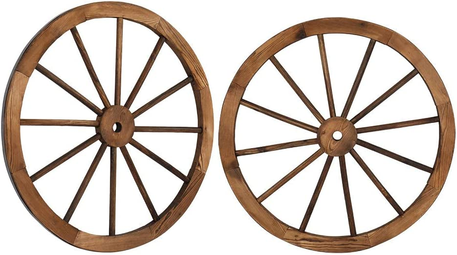 GoGreen Sprouter 2pcs 30-Inch Old Western Style Garden Art Wall Decor Wooden Wagon Wheel Brown for Patio Yard Indoor