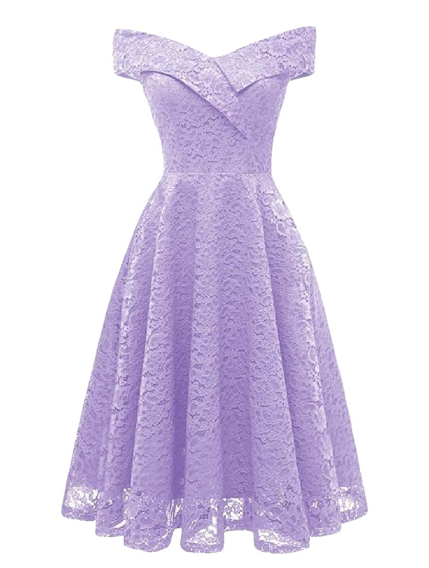 XTX Womens Off Shoulder Fit Solid Lace Sleeveless Swing Dresses