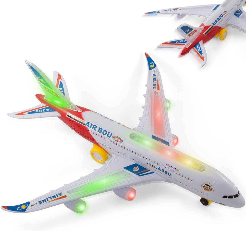 Kids Electric Light /& musique de l/'air AVION AIRBUS A380//747 Bump and go toy 43 cm